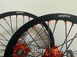 Ktm Sxf Excf Xcf Motocross Roues Rims Noir Orange Complet 19/21 125 250 450