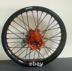 Ktm Sxf Excf Xcf Motocross Wheels Rims Black Orange Complete 19/21 125 250 450