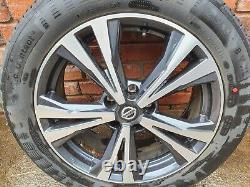 Nissan Qashqai J11 Complet Set De Diamond Cut Alloy Rims 18 Pneumatiques Continentaux