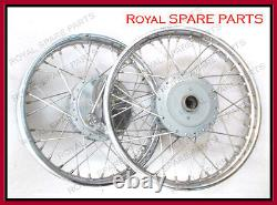 Royal Enfield Front & Rear Wheel Rim 19 Assemblage Complet De Plaques De Tambour