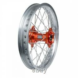 Tusk Impact Complete Wheel Rear 18 X 2.15 Silver Rim/silver Spoke/orange Hub