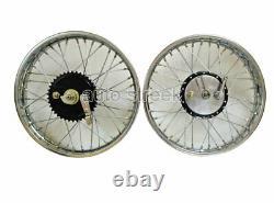 Vintage 19 Wheel Rim Complete With Spokes Half - Width Hub Bsa Norton Enfield